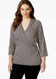 Charter Club Plus Size Printed Faux-Wrap Top, Only at Macy's