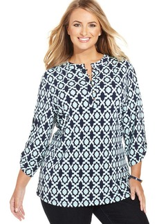 Charter Club Plus Size Printed Henely Top
