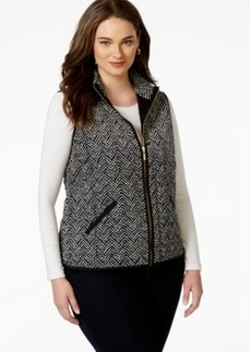 Charter Club Plus Size Printed Knit Vest, Only at Macy's