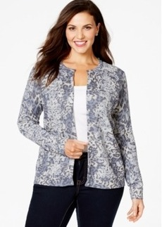 Charter Club Plus Size Printed Open-Front Cardigan, Only at Macy's