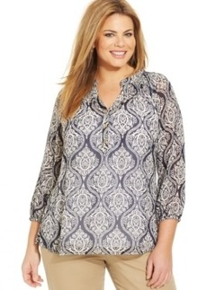 Charter Club Plus Size Printed Peasant Top