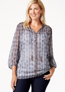 Charter Club Plus Size Printed Peasant Top, Only at Macy's