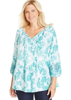 Charter Club Plus Size Printed Pintucked Peasant Top