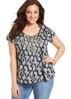 Charter Club Plus Size Printed Pleated Top