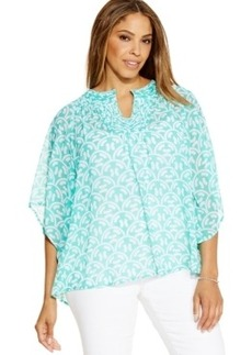 Charter Club Plus Size Printed Poncho Top
