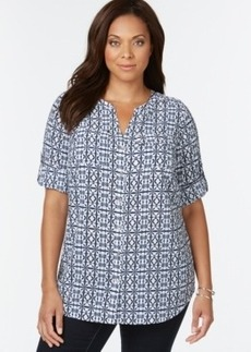 Charter Club Plus Size Printed Split-Neck Top, Only at Macy's