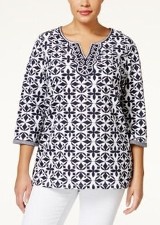 Charter Club Plus Size Printed Split-Neck Tunic, Only at Macy's