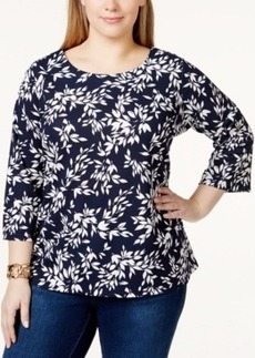 Charter Club Plus Size Printed Three-Quarter-Sleeve Blouse, Only at Macy's