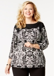 Charter Club Plus Size Printed Three-Quarter-Sleeve Top, Only at Macy's