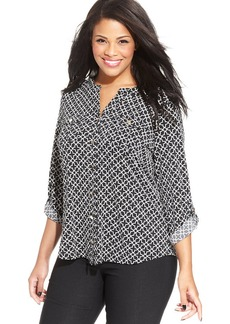Charter Club Plus Size Printed Utility Blouse