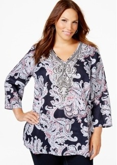 Charter Club Plus Size Printed V-Neck Tunic, Only at Macy's