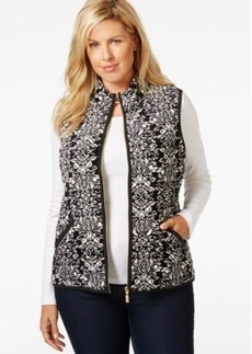 Charter Club Plus Size Printed Velour Vest, Only at Macy's