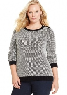 Charter Club Plus Size Pullover Colorblocked Sweater, Only at Macy's