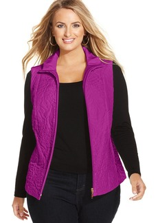 Charter Club Plus Size Quilted Rose Vest