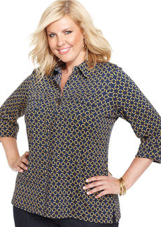 Charter Club Plus Size Ring-Print Utility Shirt