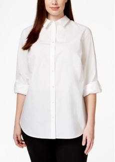 Charter Club Plus Size Roll-Tab-Sleeve Button-Down Shirt, Only at Macy's