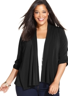 Charter Club Plus Size Roll-Tab-Sleeve Cardigan