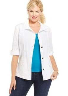 Charter Club Plus Size Roll-Tab-Sleeve Jacket