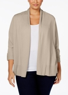 Charter Club Plus Size Roll-Tab-Sleeve Open-Front Cardigan, Only at Macy's