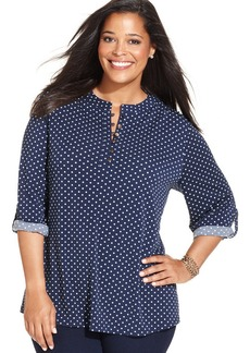 Charter Club Plus Size Roll-Tab-Sleeve Polka-Dot Top