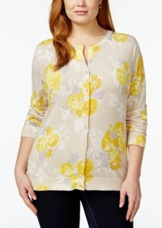 Charter Club Plus Size Rose-Print Cardigan Sweater, Only at Macy's