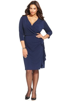 Charter Club Plus Size Ruffled Faux-Wrap Dress
