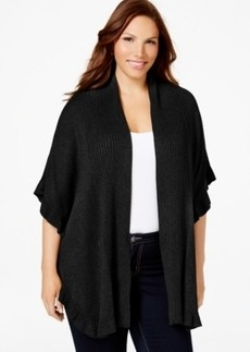 Charter Club Plus Size Ruffled Open-Front Cardigan