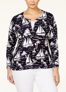 Charter Club Plus Size Sailboat-Print Cardigan, Only at Macy's