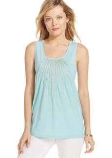 Charter Club Plus Size Scoop-Neck Embellished Tank Top