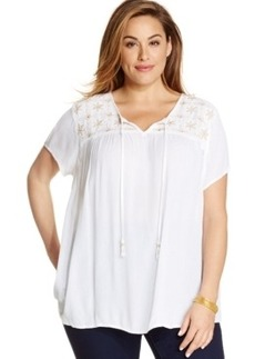 Charter Club Plus Size Short-Sleeve Embellished Peasant Top