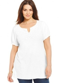 Charter Club Plus Size Short-Sleeve Embroidered Peasant Top