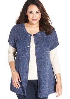 Charter Club Plus Size Short-Sleeve Fafa-Knit Cardigan