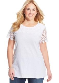 Charter Club Plus Size Short-Sleeve Lace-Trim Top