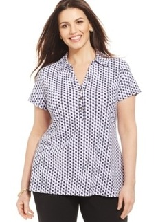 Charter Club Plus Size Short-Sleeve Printed Polo Shirt