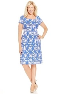 Charter Club Plus Size Short-Sleeve Printed Sheath Dress