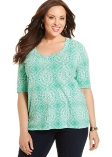Charter Club Plus Size Short-Sleeve Printed Top