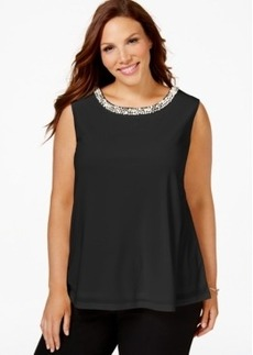 Charter Club Plus Size Sleeveless Beaded Top, Only at Macy's