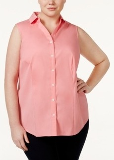 Charter Club Plus Size Sleeveless Button-Front Blouse, Only at Macy's