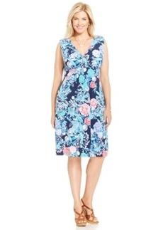 Charter Club Plus Size Sleeveless Floral-Print Sheath Dress