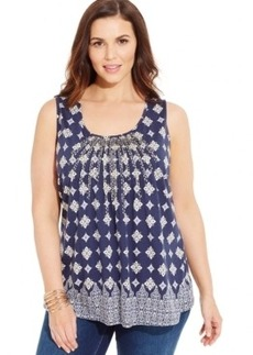 Charter Club Plus Size Sleeveless Geo-Print Pleated Top