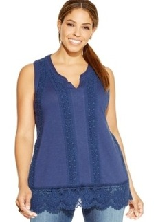 Charter Club Plus Size Sleeveless Lace-Trim Top