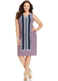 Charter Club Plus Size Sleeveless Printed Shift Dress