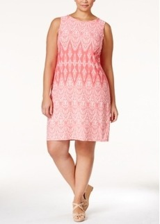 Charter Club Plus Size Sleeveless Printed Shift Dress, Only at Macy's