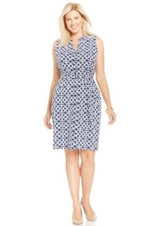 Charter Club Plus Size Sleeveless Printed Shirtdress