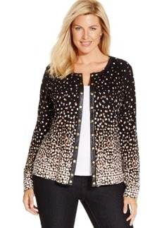 Charter Club Plus Size Snap-Front Dot-Print Cardigan, Only at Macy's