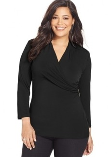 Charter Club Plus Size Solid Faux-Wrap Top