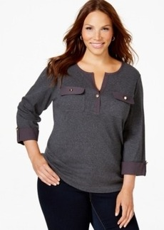 Charter Club Plus Size Solid Henley Top, Only at Macy's