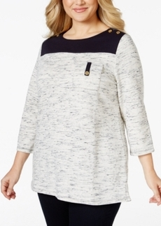 Charter Club Plus Size Space-Dyed Colorblock Top, Only at Macy's
