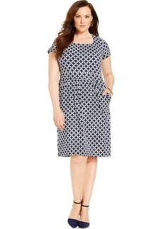 Charter Club Plus Size Square-Neck Geo-Print Dress