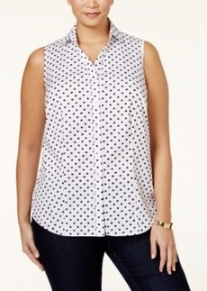 Charter Club Plus Size Star Printed Button Down Shirt, Only at Macy's